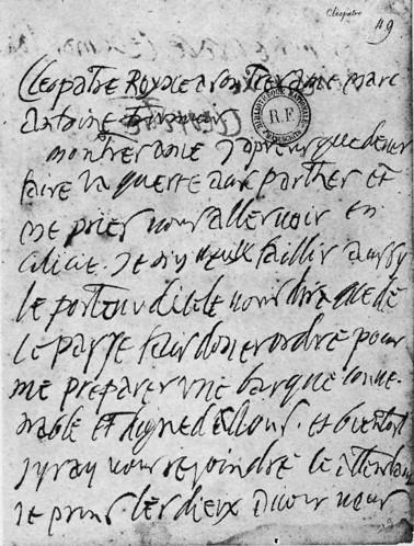 Cléopatre à Marc Antoine